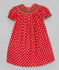 Take a look at this Red & White Christmas Tree Bishop Dress - Infant, Toddler & Girls on zulily today!