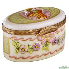 Rochard Large Oval Relief Limoges Box.