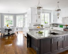 Alaska White Granite, Transitional, kitchen, Benjamin Moore Coventry Gray, Jane Lockhart Interior Design - LOOKS STUNNING! (I particularly love the light fittings! New Kitchen, Kitchen Dining, Kitchen Ideas, Kitchen Photos, Kitchen Layout, Island Kitchen, Island Table, Dining Area, Kitchen White