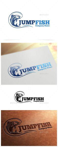 Jump Fish Logo Template, Fishing logo template