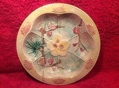 Beautiful Antique Majolica Fans & Flowers Plate Dish Bowl, fm980 #dishbowl