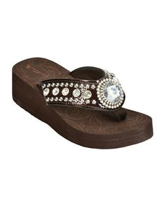 2f5c5e8e6 Montana West Croc Print Round Rhinestone Concho Wedge Sandals Cowgirl  Boots