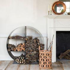 Steel Circle Log Holder in House + Home Fireside + Hearth at Terrain.