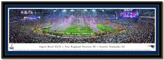 This New England Patriots poster panorama spotlights a thrilling victory over the Seattle Seahawks and win their fourth Super Bowl in franchise history.