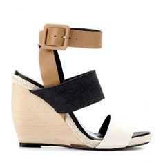560c6514c The  put them away until next Summer  Wedges Post featuring Pierre Hardy  Brown Leather and Denim Wedge Sandals