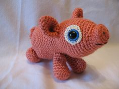 Pig Stuffed Animal  Crochet Amigurumi Patty The Pink by Hooked2012, $28.00