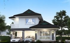 Minimalist Four-Bedroom Two Storey House Design - Ulric Home Architecture Magazines, Modern Architecture House, Online Architecture, Amazing Architecture, Single Storey House Plans, Two Storey House, 4 Bedroom House Plans, Three Bedroom House, House Layout Plans