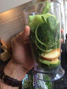 Cucumber, watercress, celery, avocado, apple, goji berries and almond milk smoothie.