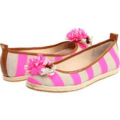 Juicy Couture Gianna Striped Flats - Dark Natural/Neon Pink