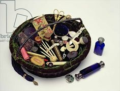 Elizabeth Fry's own work basket - Google her! The great Quaker advocate for children and women in prisons, one of her practical kindnesses was to supply each woman being transported to Australia with sewing equipment and cloth, to soften their terrible voyage and to give them something to sell or show to help find work upon arrival.