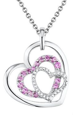 Two Hearts Forever One Lab-Created Pink Sapphire & Diamond Accent Sterling Silver Triple Heart Pendant Necklace #LoveKohls