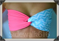 Coral Mint Chevron Bandeau Top Spandex Bandeau by Sidewalk616, $30.00