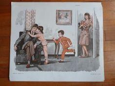 enfant pyjama bonne nuit famille Ancienne Affiche carte scolaire MDI lecture