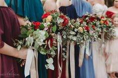 Fall bridesmaids bouquets