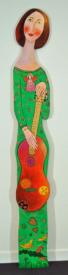 Jose Ventura - Woman in Green American Village, Wood Sculpture, 3 D, Woman, Disney Characters, Green, Artist, Artwork, Work Of Art