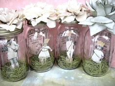 Use mom-to-be baby pictures in ball jars as decor for a babyshower.