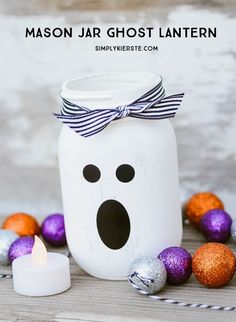 Boo! This ghost Mason jar ghost lantern is adorably easy.  Get the tutorial at Simply Kierste.