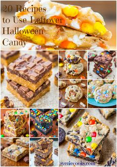 20 Recipes to Use Leftover Halloween Candy - Put it to better use than just eating it right out of the bag! Fun, easy recipes using a wide variety of candy. Cookie Desserts, Sweet Desserts, Just Desserts, Delicious Desserts, Candy Bar Cookies, Candy Recipes, Fall Recipes, Holiday Recipes, Dessert Recipes