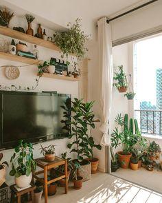 beige boho home decor houseplants big tv wall shelves Room Interior, Interior Design, Room With Plants, Italian Home, Rustic Italian, Aesthetic Bedroom, Dream Rooms, Home Decor Inspiration, Decor Ideas