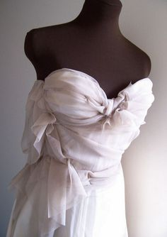 Strapless Wedding Gown Ecru BallGown Formal Evening Prom Mad Men - Style Tantrum Weddings