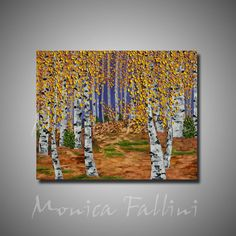 Aspen fall landscape birch trees oil painting on canvas 24x30 in. by artist Monica Fallini