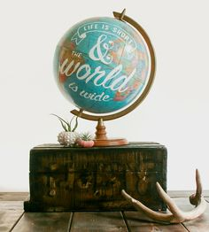 Vintage Life Is Short Globe | Because we all need a little encouragement now and then, this ... | World Globes