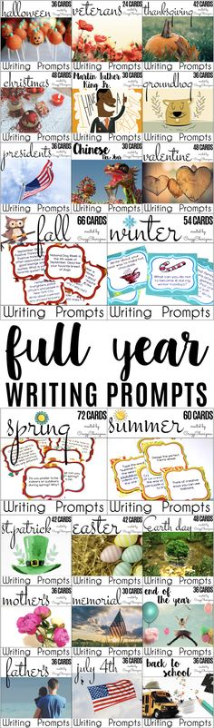 Full Year of Writing Prompts {850+ cards}. Provide students with writing tasks and ideas. The packet contains narrative, informational and opinion writing prompts for teens. Topics covered: Halloween, Veterans Day, Thanksgiving, Christmas, Martin Luther King Jr. Day, Groundhog Day, Chinese New Year, President's Day, Valentine's Day, St. Patrick's Day, Easter, Earth Day, Mother's Day, Memorial Day, End of the Year, Father's Day, July 4th, Back to School, fall, winter, spring, summer.