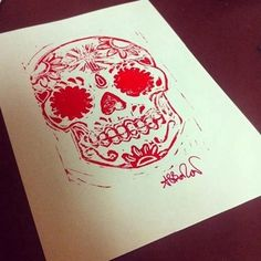 Beautiful day of the dead sugar skull Lino print. This is printed on a5 cartridge paper, and signed.