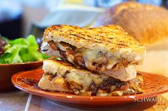 Grilled cheese with caramelized onions and Hamakua mushrooms.