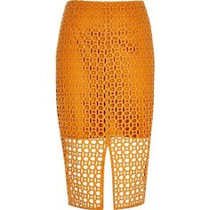 River Island Orange circle lace pencil skirt ($54) ❤ liked on Polyvore featuring skirts, knee length lace skirt, river island, orange pencil skirt, short skirts and circular skirt