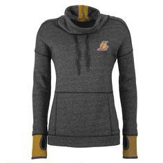 Los Angeles Lakers Antigua Women's Snap Cowl Neck Pullover Hoodie - Heathered Black
