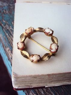Vintage Cameo Brooch Pin Glass Shell Gold by primitivepincushion, $26.50