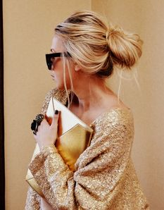 Sequin off the shoulder sweater + Gold Envelope Clutch