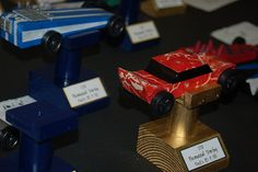 """Trophy"" stand for Pinewood Derby cars"