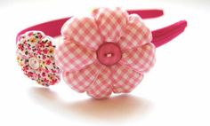 diadema de dos flores rosa  diadema flexible,telas flores artesanales
