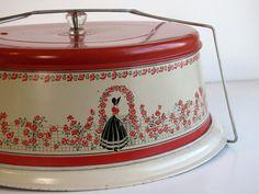 Vintage Red and Cream Tin Cake Saver / Pie by HeartlandVintageShop, $24.99