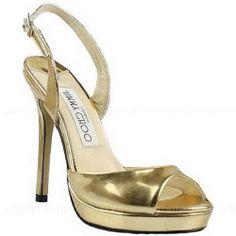 Jimmy Choo Slingbacks Open Toe Sandals Gold -$145