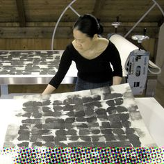EUNICE KIM - Artist in studio with Tessellation series.