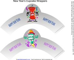 Happy New Year Cupcake Wrappers http://www.kidscanhavefun.com/new-years-activities.htm #newyears #cupcakewrappers