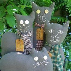 Kitty Cat Dolls Primitive Folk Art Gray by scaredycatprimitives, $26.00