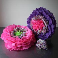 Paper Flowers, Florals, Hot Pink, Wedding Flowers, Bloom, Hanging Decorations, Pearl, Purple, Create