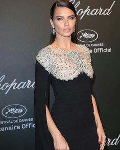 Adriana Lima dressed in Reem Acra dress at a Chopard dinner in her honor during the 2017 Cannes Film Festival, May 2017. #cannes #festivaldecannes #cannes2017 #cannesfilmfestival #redcarpet #celebrity #fabfashionfix #chopard #adrianalima
