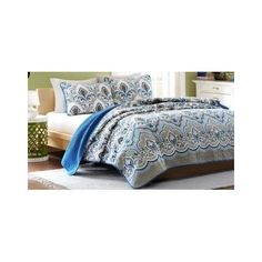 Coverlet Quilt Set Twin Damask Medallion Microfiber Bedding Sham 2 Pc Blue Brown #NA #Moroccan