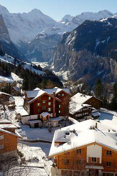 Swiss ski chalets at Wengen - Swiss Alps - Switzerland (Gertsch Bakerei)