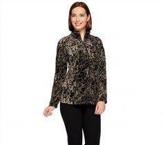 54.43$  Watch here - http://viwqc.justgood.pw/vig/item.php?t=wqy8ot5693 - Susan Graver Weekend Velour Zip Front Long Slv Jacket Grey Leopard L NEW A271650 54.43$