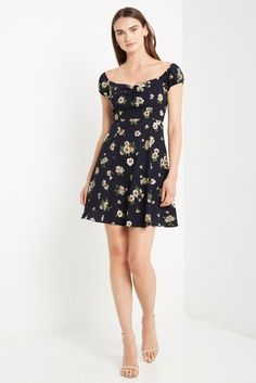 Lina Floral Off the Shoulder Fit and Flare Dress