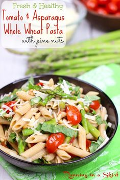 Quick! 20 minute dinner- Tomato and Asparagus Pasta recipe- An easy, simple and healthy vegetarian penne pasta dish.  Made with simple ingredients like garlic, vegetable stock, tomato, asparagus and parmesan. | Running in a Skirt