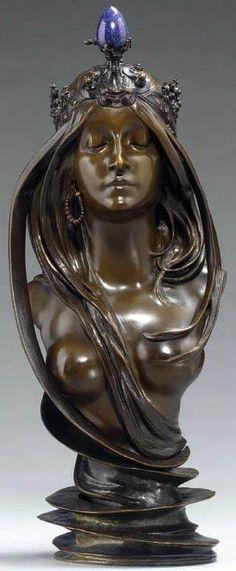Alfons Mucha - Buste 'La Nature' - Bronze Patiné et Lapis Lazuli - Vers 1900.