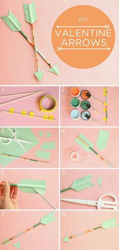 DIY Decorative Arrows Valentine's Day Arrows! Perfect way to top off a Valentine's Day gift, or plop in a mason jar for a table-topper. Change up the paper color scheme, and you have the perfect Hunger Games-themed party decoration. Valentines Bricolage, Valentine Day Crafts, Holiday Crafts, Diy For Valentines Day, Valentine Ideas, Cute Crafts, Diy And Crafts, Crafts For Kids, Paper Crafts