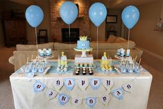 A Really Wonderful Birthday Party Table Decor . A Pleasing Birthday Table Decoration . Mar This Pin was discovered by Perfect Table Decorations. Birthday Party Table Decorations, Birthday Party Tables, 1st Birthday Parties, Birthday Ideas, Decoration Party, Baby Shower Cakes, Baby Shower Themes, Baby Boy Shower, Shower Ideas
